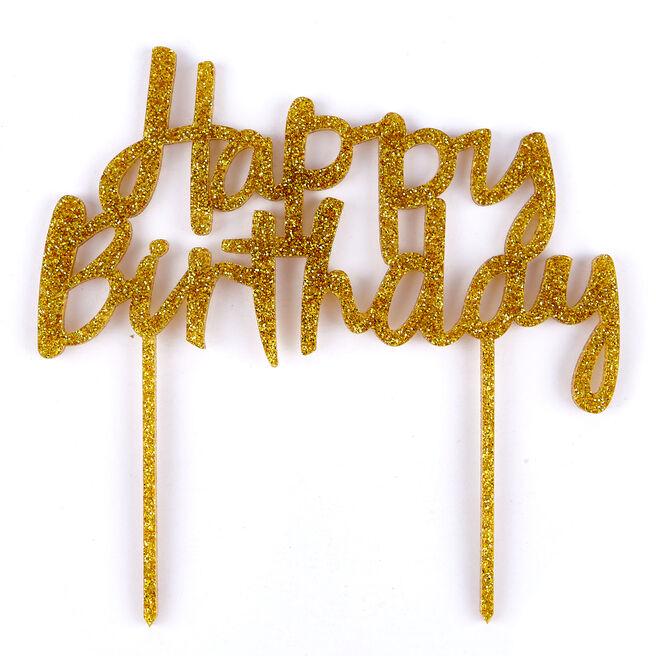 Gold Glitter Acrylic Happy Birthday Cake Topper