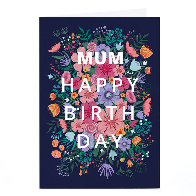 Personalised Dalia Clark Birthday Card - Pink & Blue Floral