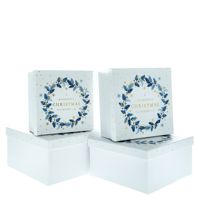 Blue Leaves Christmas Gift Boxes - Set of 4