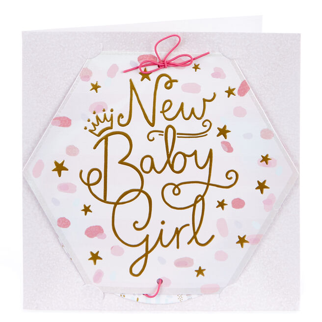 Boutique Collection New Baby Girl Photo Keepsake Card