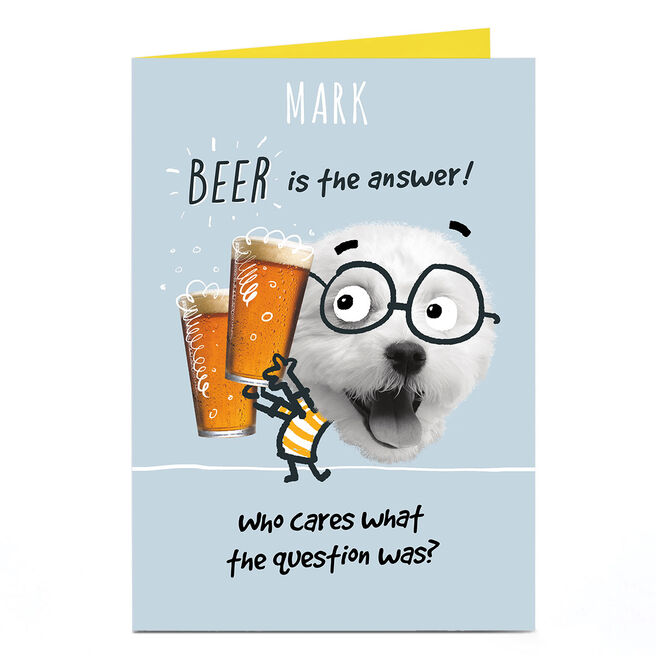 Personalised Pink Pet Shop Card - Beer Is The Answer