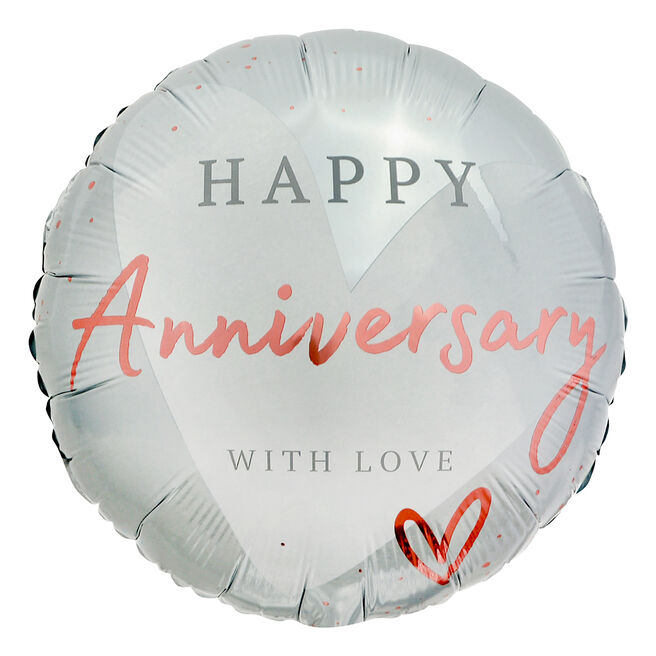 With Love Happy Anniversary 18-Inch Foil Helium Balloon