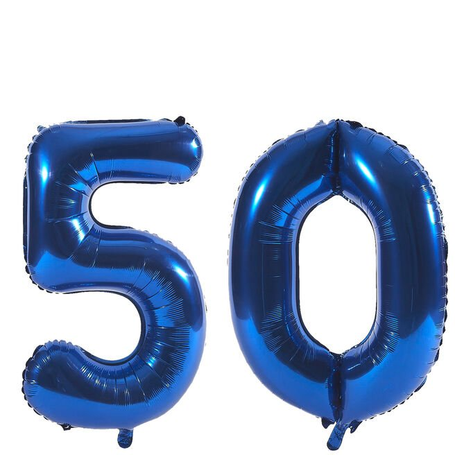 Age 50 Giant Foil Helium Numeral Balloons - Blue (deflated)