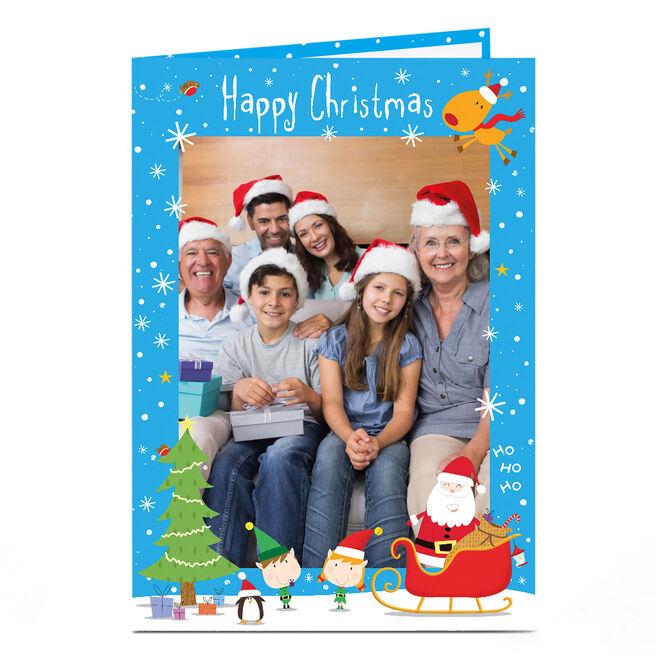 Photo Christmas Card - Santa, Elves And Rudolf