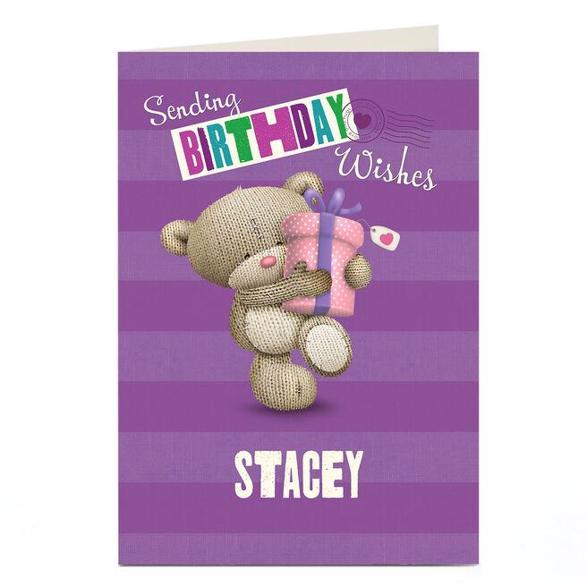 Personalised Hugs Bear Birthday Card - Sending Wishes