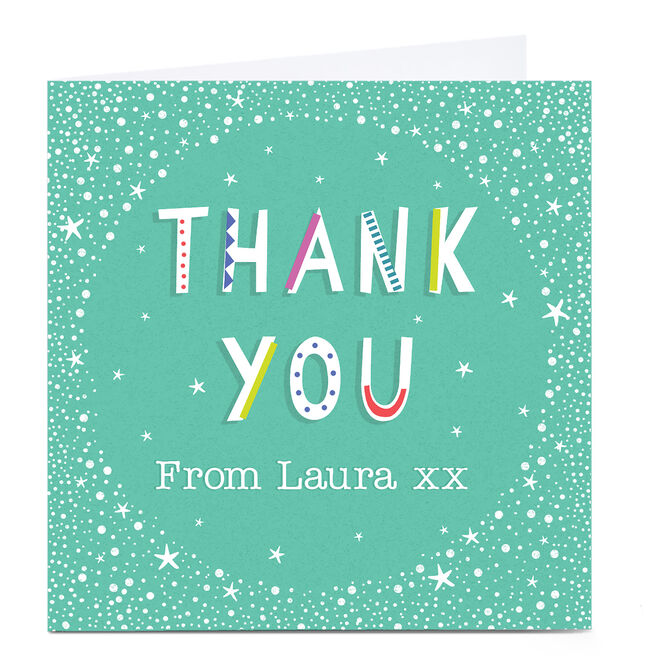 Personalised Thank You Card - Any Name, Turquoise