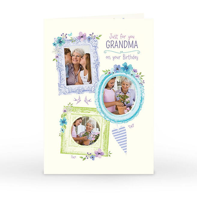 Photo Birthday Card - Grandma, Flower Frames