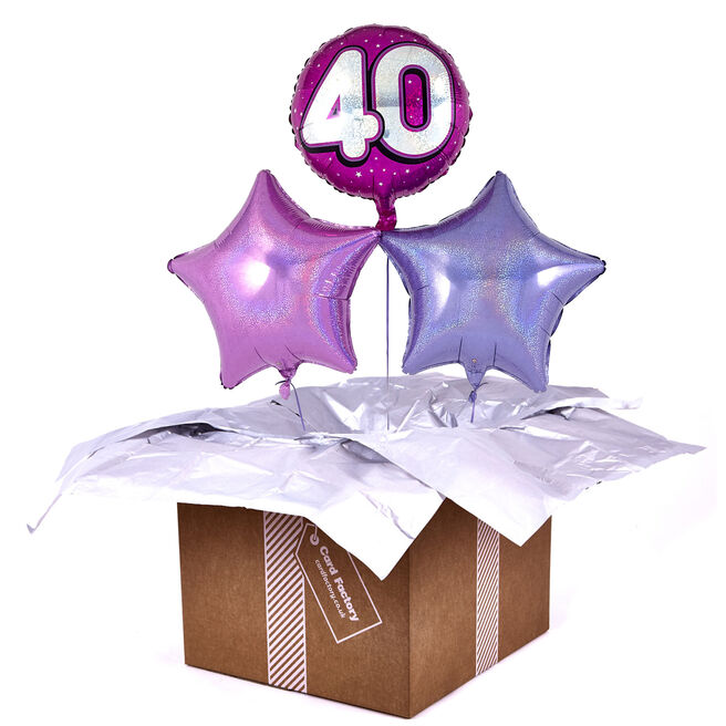 Pink 40th Birthday Balloon Bouquet - DELIVERED INFLATED!
