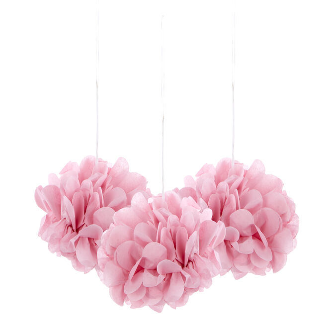 Mini Tissue Paper Pom-Pom Party Decorations - Light Pink (Pack Of 3)