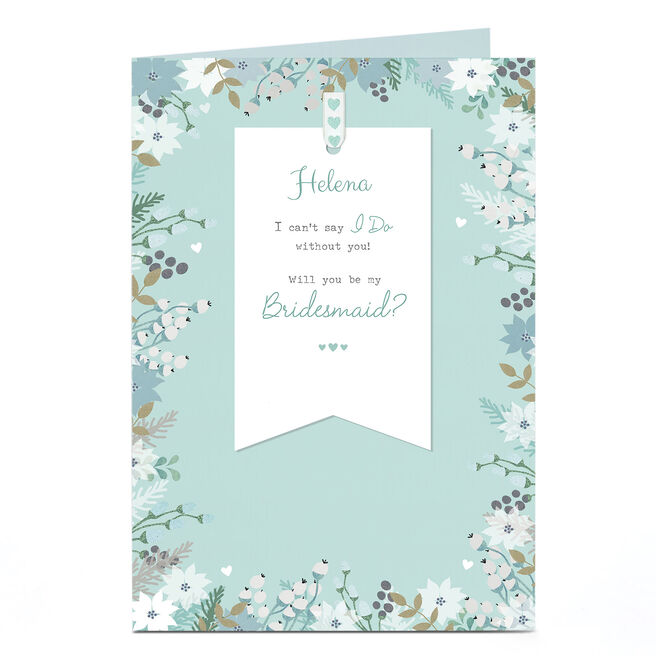 Personalised Wedding Card - Be My Bridesmaid Floral Blue