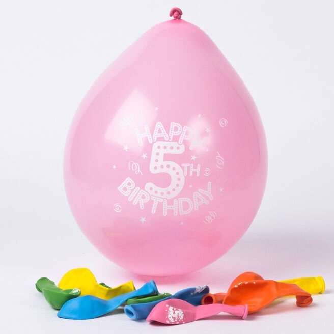 Multicoloured Age 5 Small Air-fill Latex Balloons, Pack Of 10