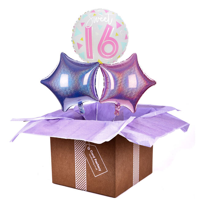 Sweet Sixteen 16th Birthday Balloon Bouquet - DELIVERED INFLATED!