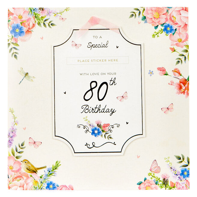 Exquisite Collection 80th Birthday Card - Any Female Recipient (Stickers Included)
