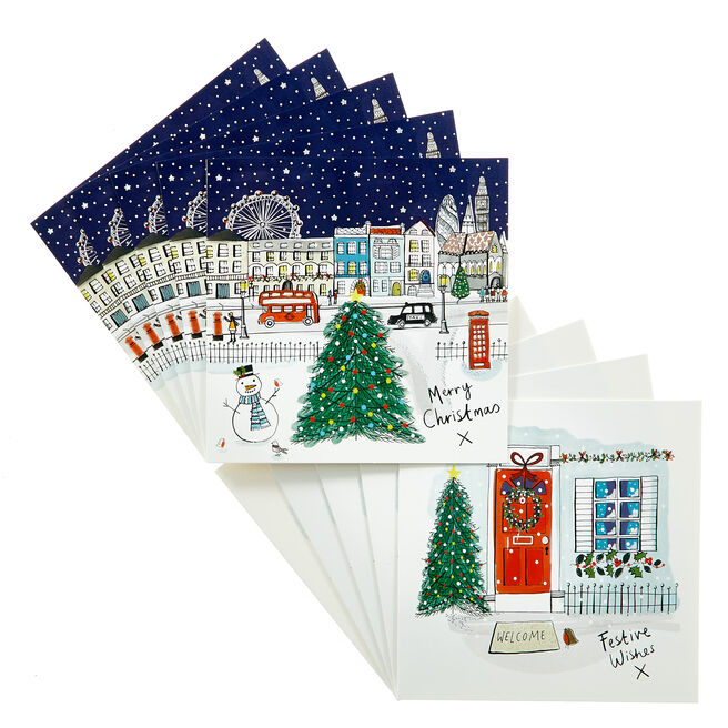 18 Festive Scene Charity Christmas Cards - 2 Designs