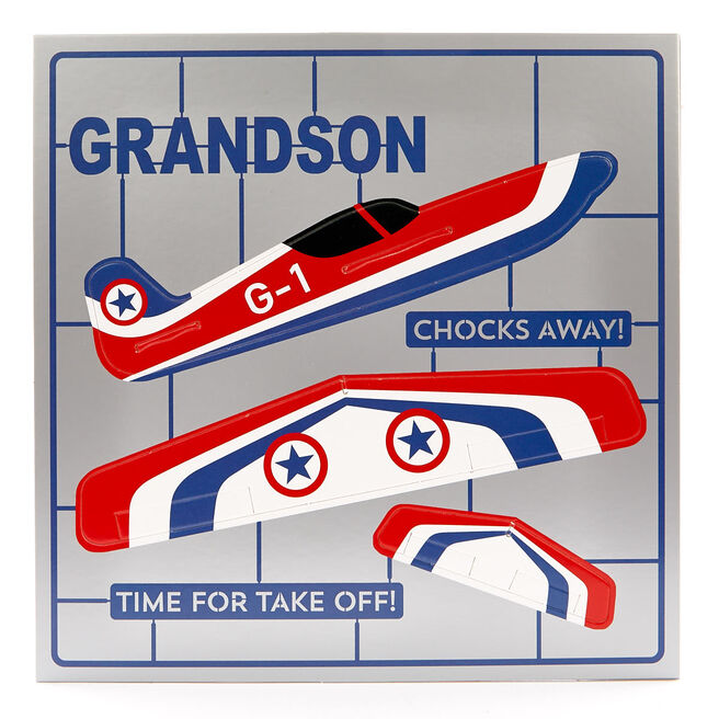 Exquisite Collection Birthday Card - Grandson Pop-Out Plane
