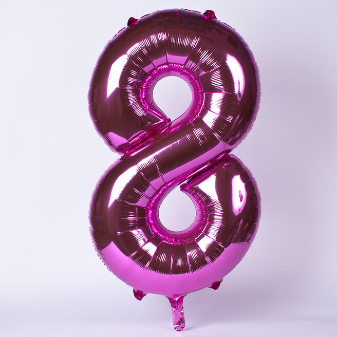 Pink Number 8 Giant Foil Helium Balloon INFLATED