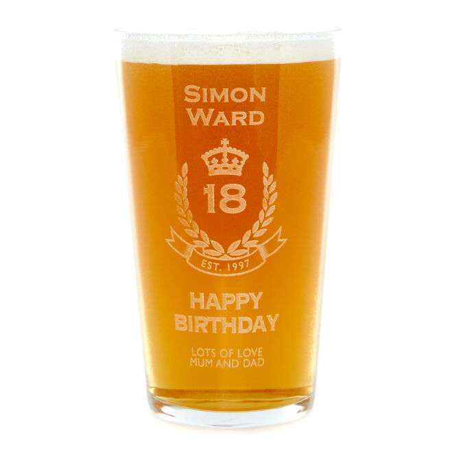 Personalised 18th Birthday Crest Pint Glass
