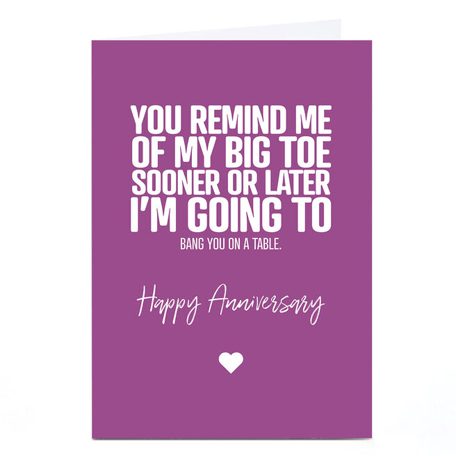 Personalised Punk Cards Anniversary Card - On The Table…