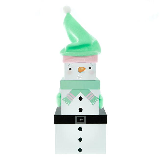 Plush Snowman Gift Boxes - Set Of 3