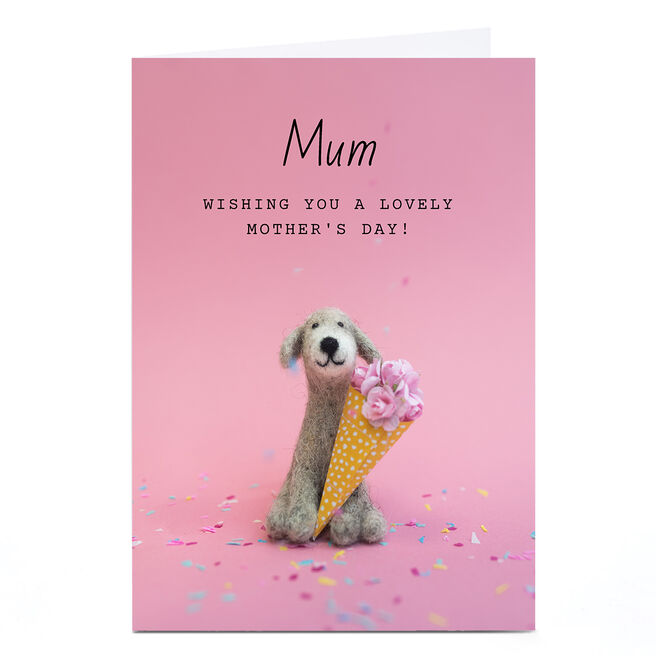 Personalised Lemon & Sugar Mother's Day Card - Dog & Flowers