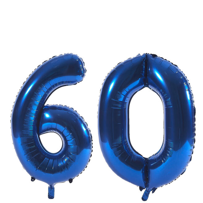 Age 60 Giant Foil Helium Numeral Balloons - Blue (deflated)