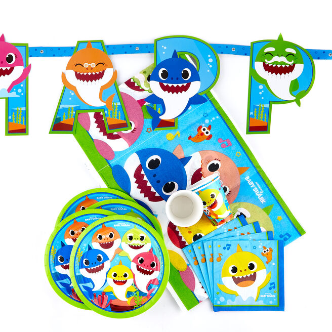 Baby Shark Party Tableware & Decorations Bundle - 66 Pieces