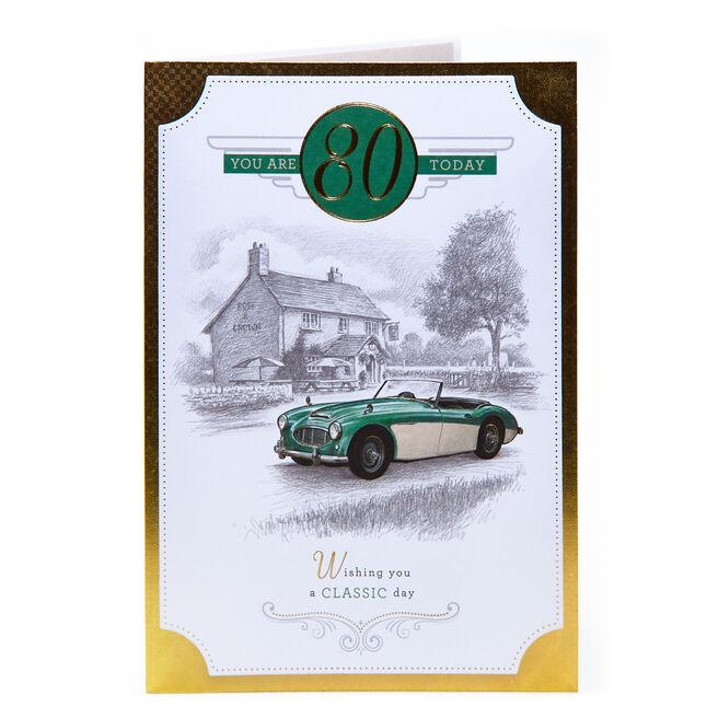 80th Birthday Card - Classic Car