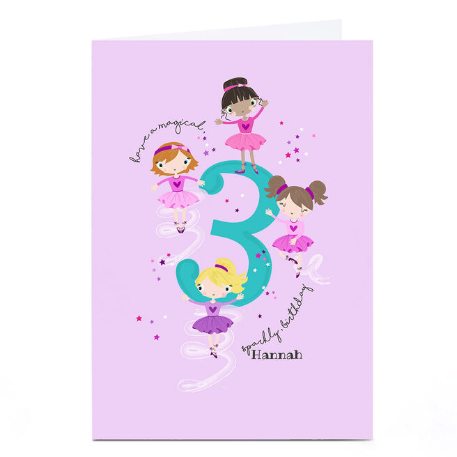 Personalised Rachel Griffin Birthday Card - 3, Sparkly Birthday