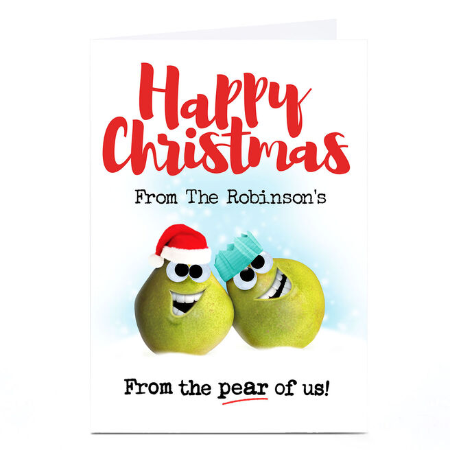 Personalised PG Quips Christmas Card - From the Pear of Us!