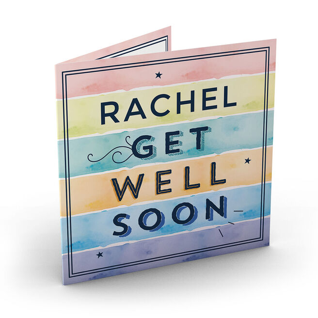 Personalised Get Well Soon Card - Watercolour Stripes