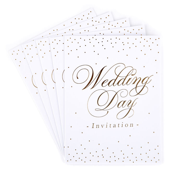White & Gold Wedding Invitations - Pack of 12