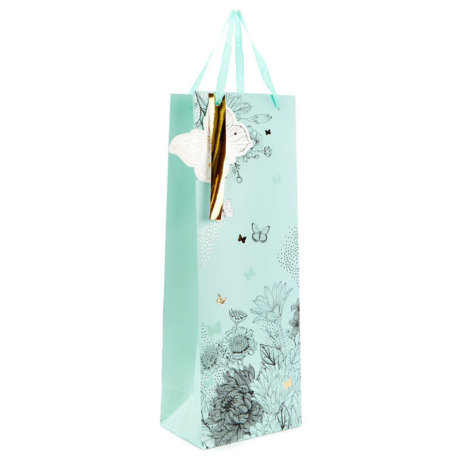 Mint Floral Bottle Bag With Gold Butterflies