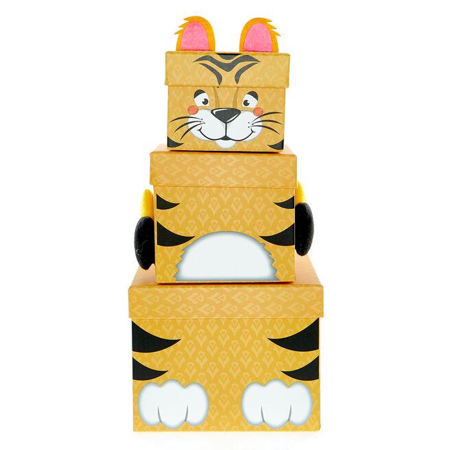 Stackable Plush Tiger Gift Boxes - Pack Of 3