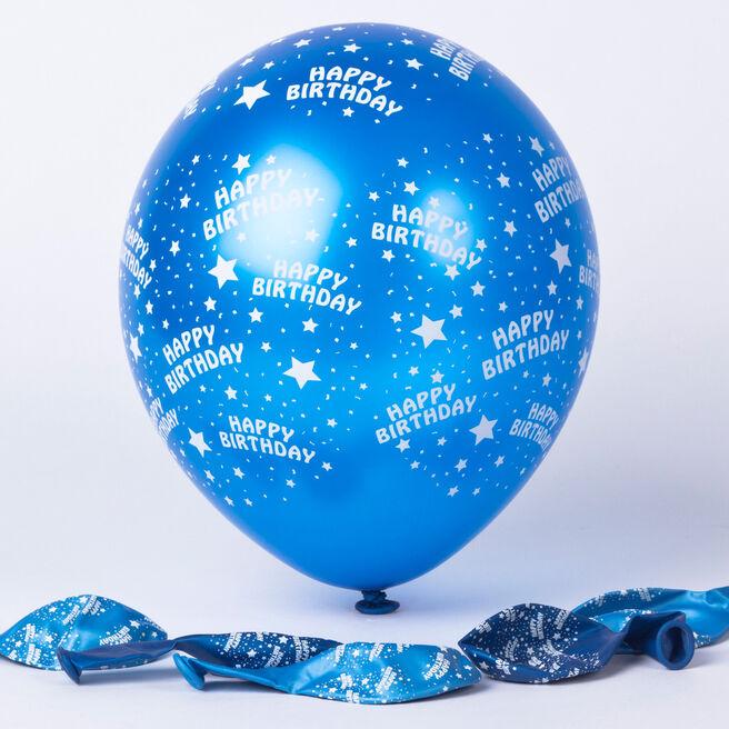 Metallic Blue Stars Happy Birthday Helium Latex Balloons - Pack Of 6