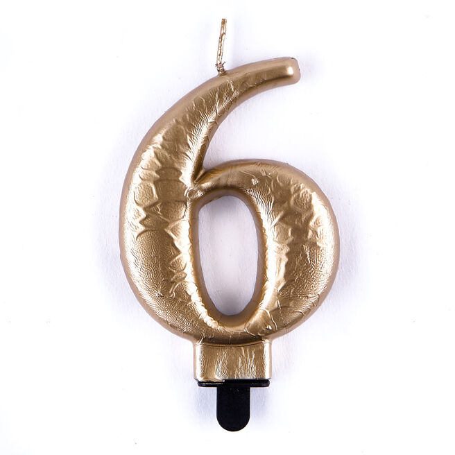 Gold Metallic Number 6 Birthday Candle