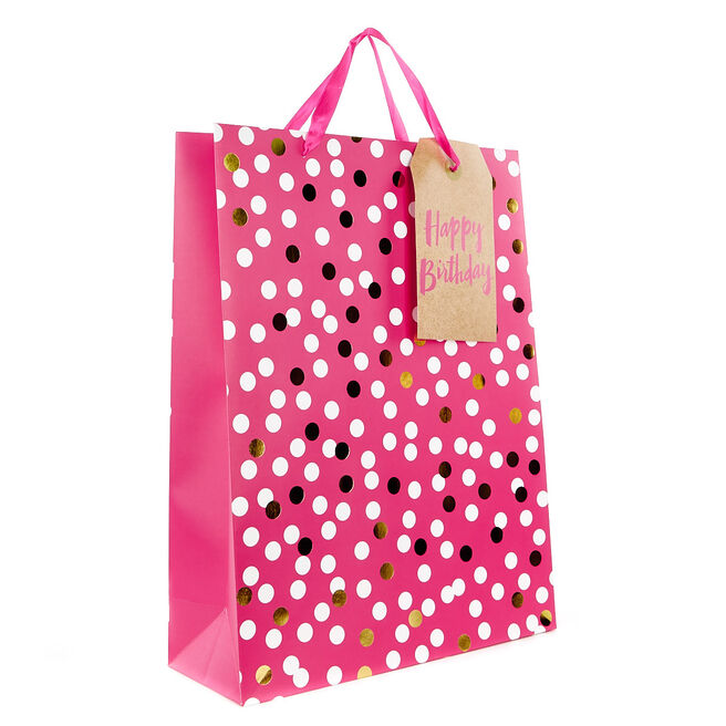 Large Portrait Gift Bag - Pink Spots, Happy Birthday