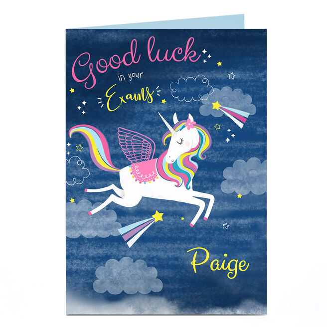 Personalised Good Luck Card - Exams Unicorn