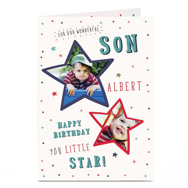 Photo Birthday Card - Son, Little Star