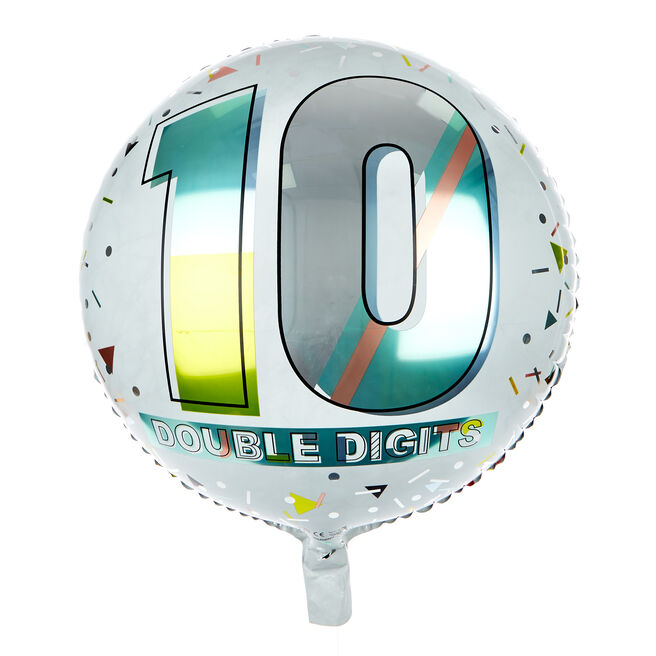 Double Digits 10th Birthday 18-Inch Foil Helium Balloon