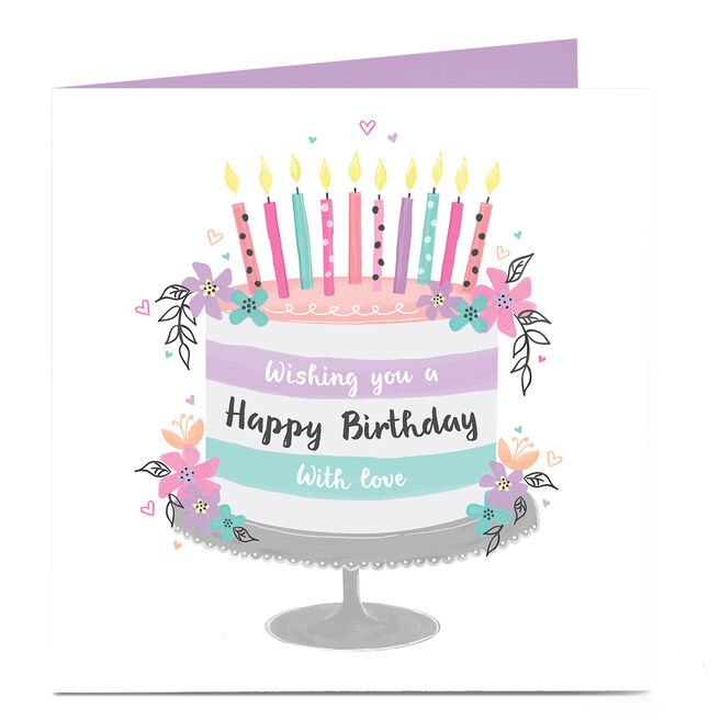 Personalised Charity Birthday Card - Pastel Cake & Candles