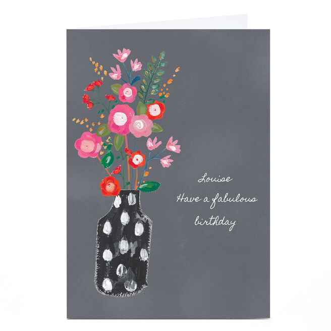 Personalised Kerry Spurling Card - Vase Of Flowers [Any Message]