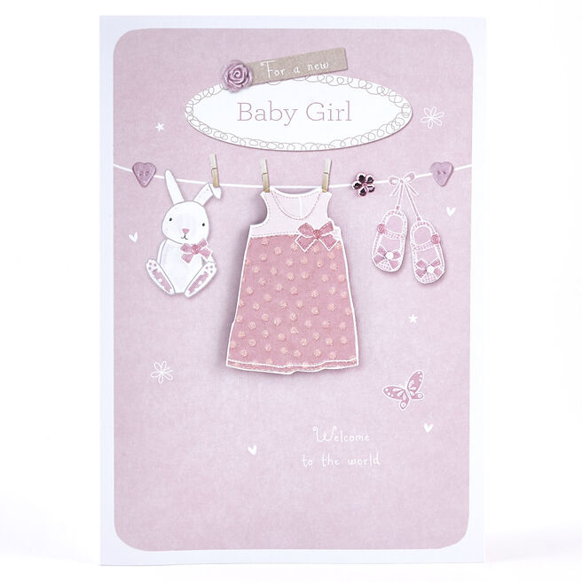 New Baby Girl Card - Clothes Line