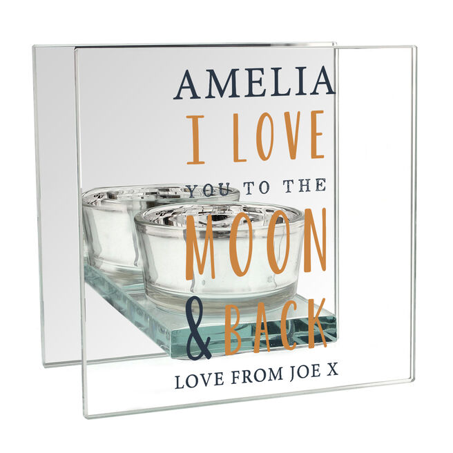 Personalised Glass Square Candle Holder - To The Moon & Back