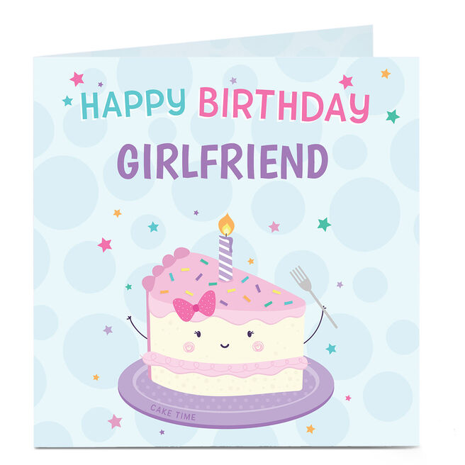 Personalised Birthday Card - Birthday Cake, Girlfriend