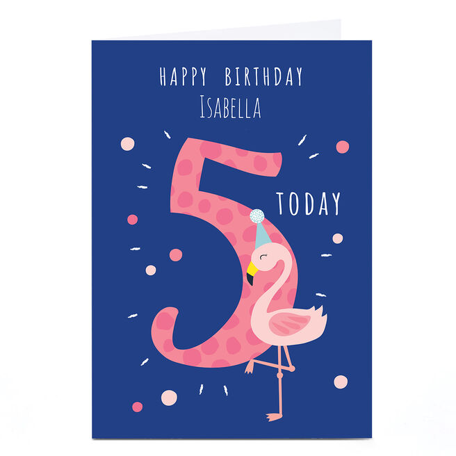 Personalised Klara Hawkins 5th Birthday Card - Flamingo