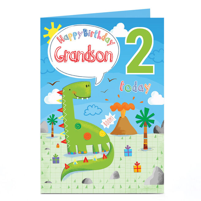 Personalised Any Age Birthday Card - Green Dinosaur, Grandson