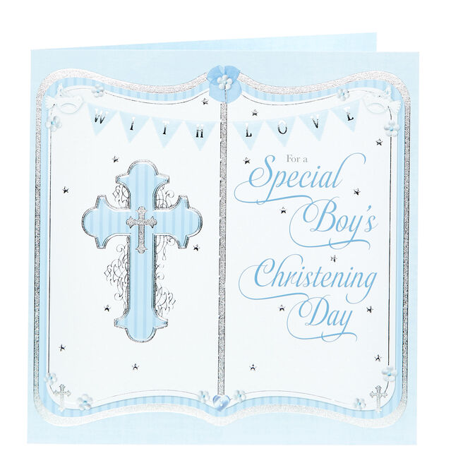 Platinum Collection Christening Card - For A Special Boy