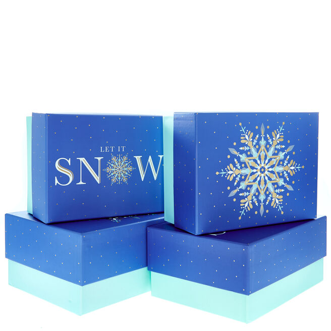 Blue Snowflakes Christmas Gift Boxes - Set Of 4