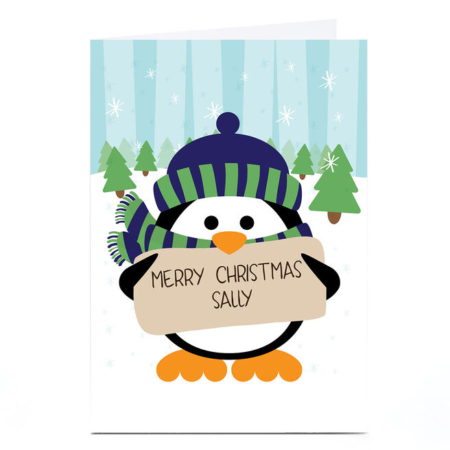Personalised Christmas Card - Penguin Message