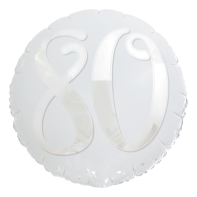 Silver & White 80th Birthday 18-Inch Foil Helium Balloon